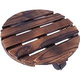 WINOMO 植木鉢台 鉢置台 木製 キャスター台 花台 キャスター付き プランター 台車 25cm