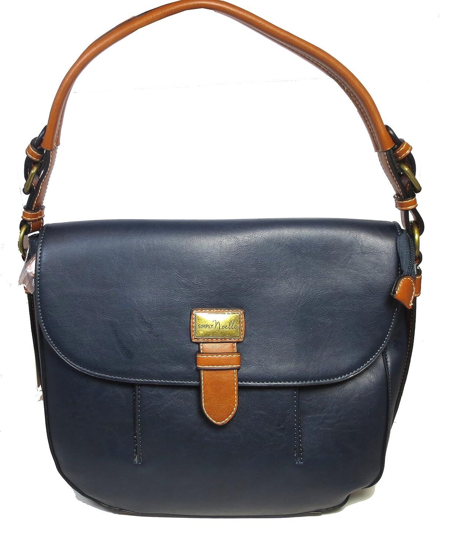 Simply Noelle Gone Sailing Saddlebag Style Vegan Faux Leather Handbag in Harbour Blue