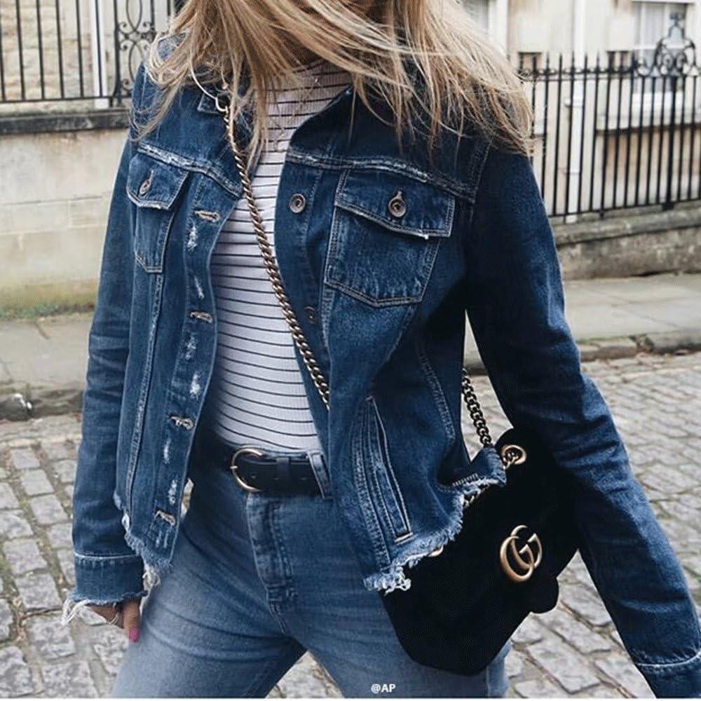 HIENAJ Womens Basic Button Down Denim Jean Jacket Edge Ripped Slim Fit Short Coat