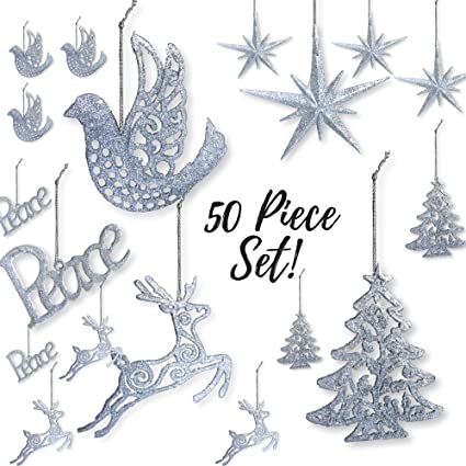 silver christmas decorations pack of 50 shatterproof xmas ornaments peace dove christmas - Silver Christmas Decorations