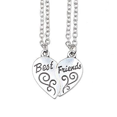 0bc8400830b5 ISHOW Tono de Plata Mejores Amigos BFF Best Friends corazón Partido Collar  Colgante 2 Piezas  Amazon.es  Joyería