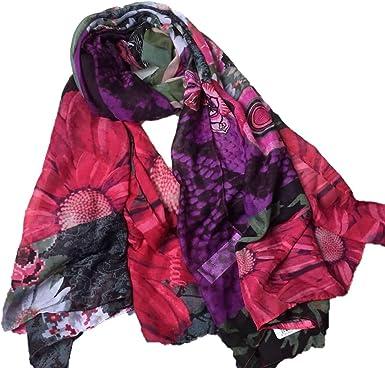 385455f885208 Desigual - Foulard - Femme Violet aubergine Taille unique  Amazon.fr ...