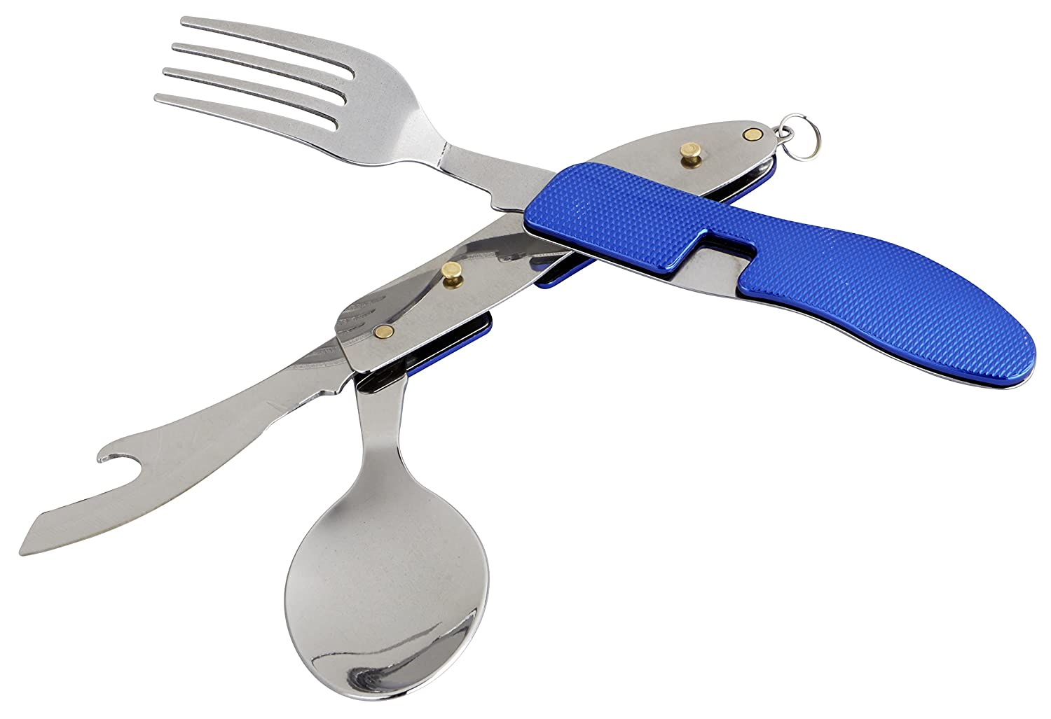 OUTDOOR FREAKZ Outdoor cutlery and camping cutlery foldable made of stainless steel (blue) P2-b+