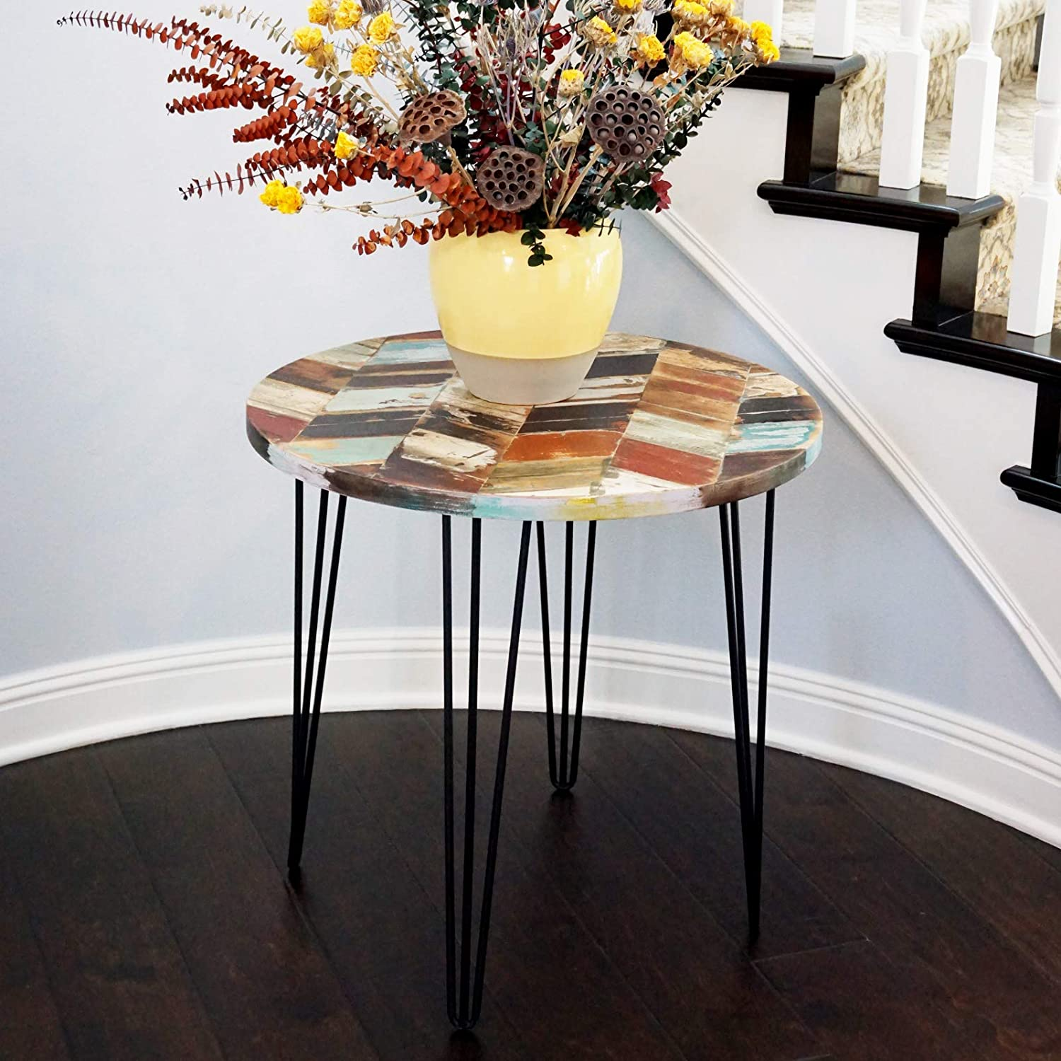 """WELLAND Side Table Reclaimed Wood, Round Hairpin Leg End Table, Night Stand, Recycled Boat Wood, 20"""" Tall"""