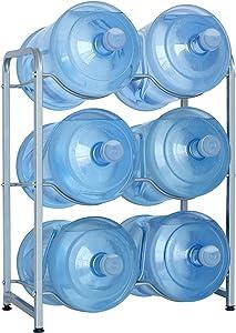 5-Gallon Water Bottle Holder, 3-Tier Heavy Duty Carbon Steel Water Cooler Jug Rack for 6 Bottles, Free-Standing Detachable Water Bottle Storage Organizer for Office, Breakroom, Kitchen, Silver