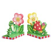 Fantasy Fields - Magic Garden Thematic Set of 2 Wooden Bookends for Kids | Imagination Inspiring Hand Crafted & Hand Painted Details Non-Toxic, Lead Free Water-based Paint