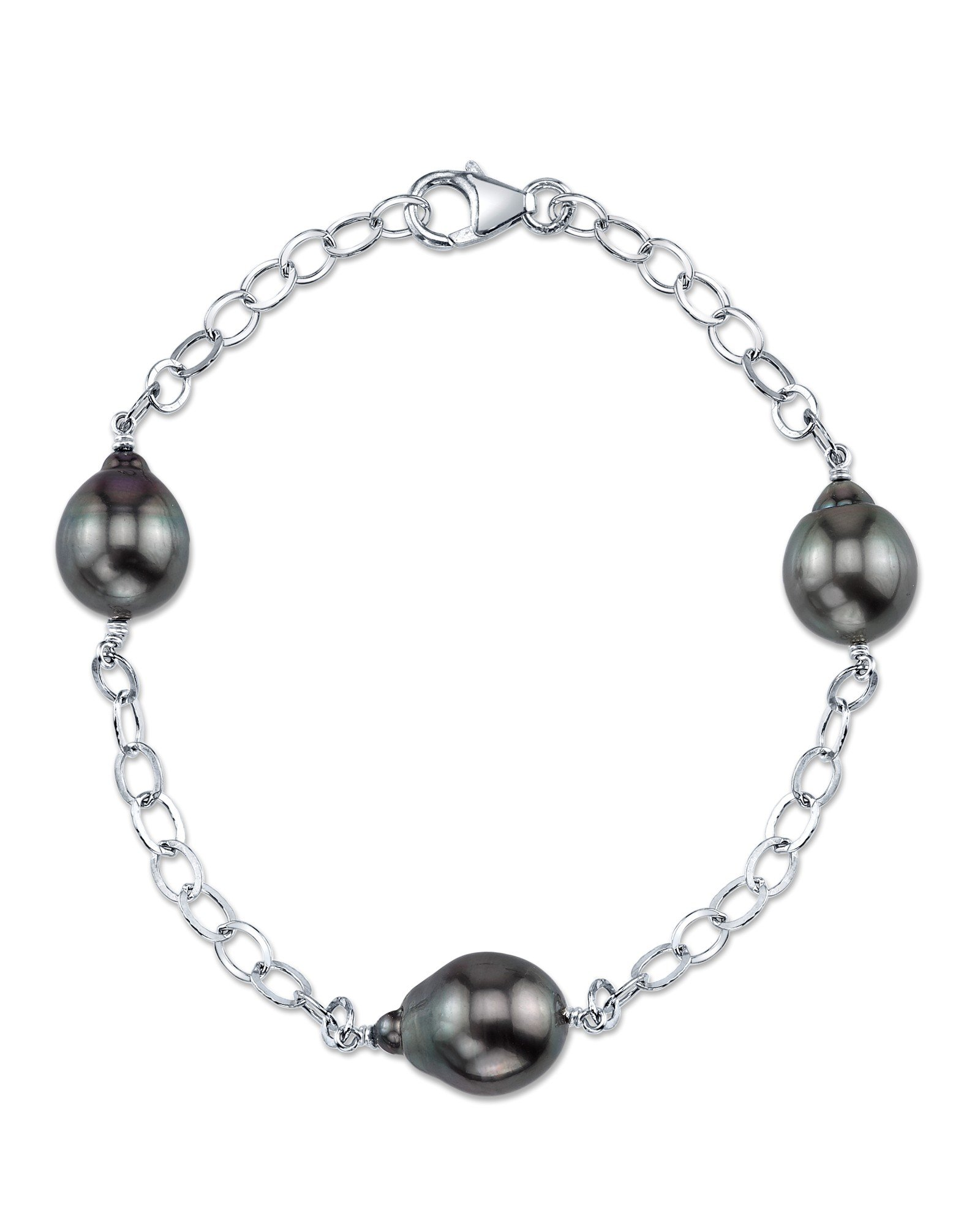 9-10 Tahitian South Sea Baroque Cultured Pearl Tincup Bracelet - AAA Quality