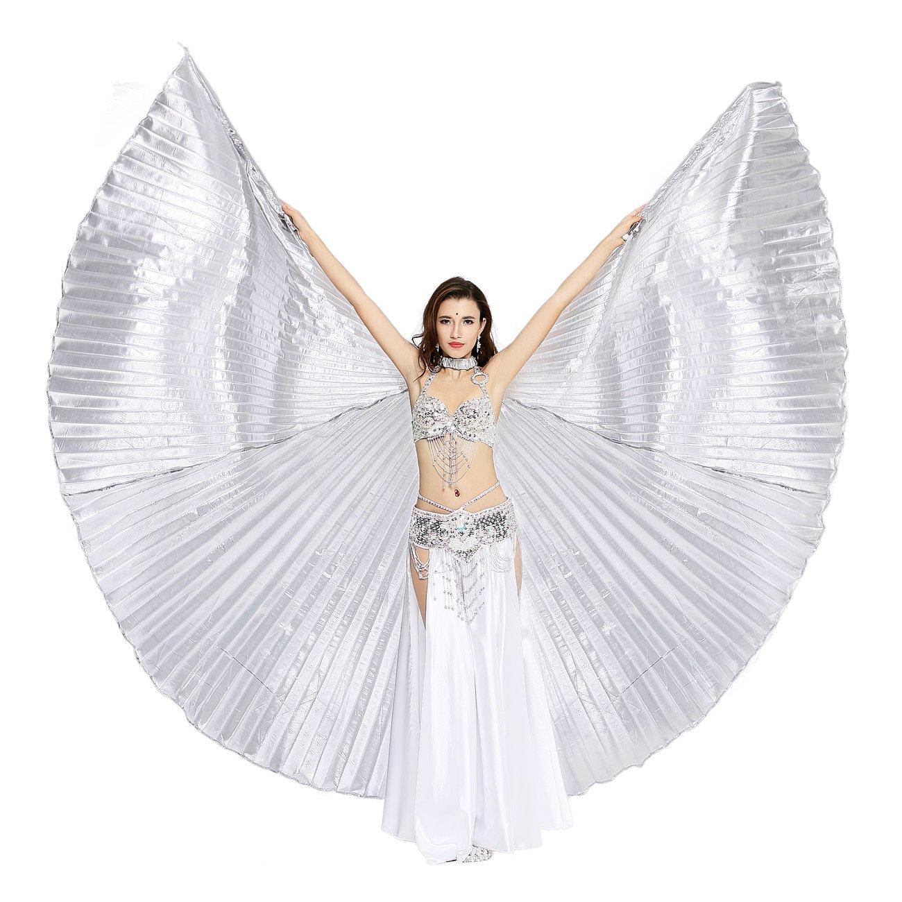 Dance Fairy Danza del Ventre Iside ali Costume di Halloween Con Bastoni/Bacchette, Turquoise