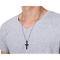 Unisex Steel Chain Crucifix Cross Pendant Easter Prayer Necklace