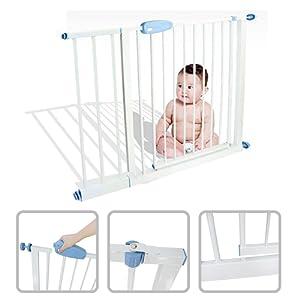 Babyfield - Barrière de sécurité enfant acier 74 à 87 cm - Sécurité escalier, porte et couloir - Ouverture en deux sens - Extensible jusqu'à 102 à 115 cm