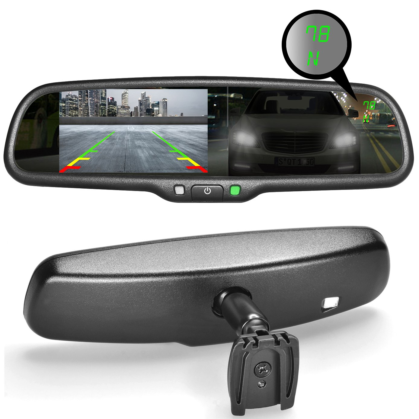 Master Tailgaters OEM Rear View Mirror with Ultra Bright 4.3'' Auto Adjusting Brightness LCD + Auto Dimming Mirror + Compass & Temperature- Universal Fit