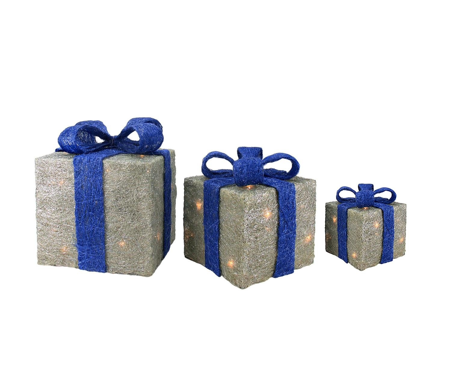 Lighted christmas gift boxes yard decor - Amazon Com Set Of 3 Lighted Silver With Blue Bows Sisal Gift Boxes Christmas Yard Art Decorations Garden Outdoor