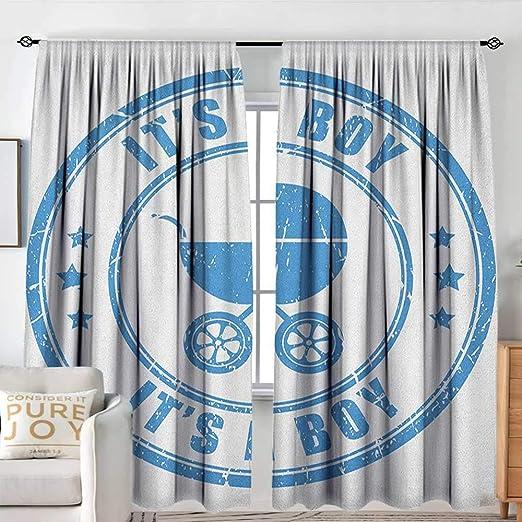 Sillgt Cortina de Puerta corredera con Cita en inglés Its A Boy en Fondo Pastel con Efecto de pincelada, Color Turquesa y Azul: Amazon.es: Hogar
