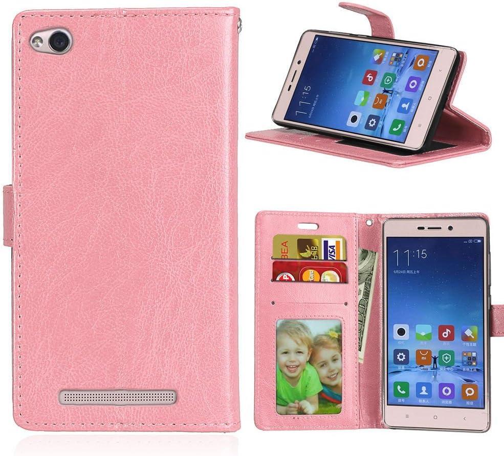 Qiaogle Teléfono Case - Funda de PU Cuero Billetera Clamshell Carcasa Cover para Xiaomi HongMi 3 / Redmi3 Red Rice 3 (5.0 Pulgadas) - DK08 / Pink Estilo
