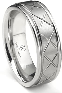 Cobalt XF Chrome 8MM Solitaire Black Diamond Pipe Cut Flat Wedding Band Ring