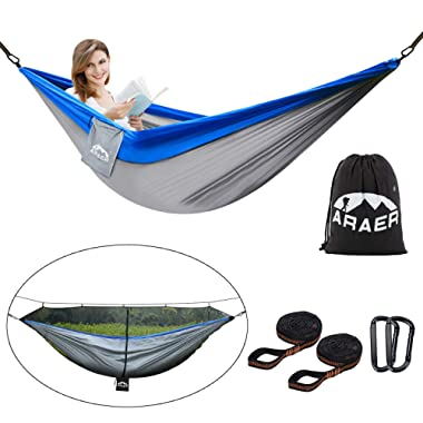 ARAER Double Camping Hammock, with Mosquito Net(11ft) and Sturdy Tree Straps, 660LBS Capacity, 118 (L) x 78 (W), Lightweight, Portable, Easy Setup for Camping Backpacking Kayaking Beach Patio Garden