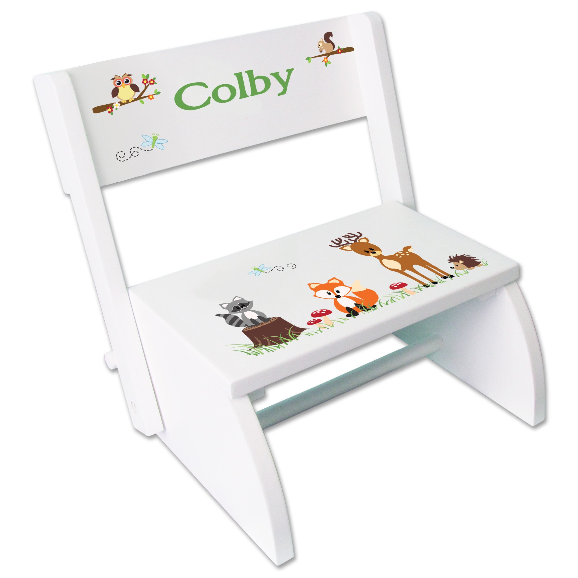 Personalized Green Forest Animal Childrens and Toddlers White folding stool