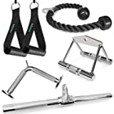 A2ZCARE Combo LAT Pulldown Attachment with Multi-Option: V-Handle, Tricep Rope, Execrise Handle, D-Handle, V-Shape Bar…