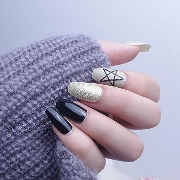 24pcs 12 diferentes tamaño ataúd elegante plata brillante estrellas sólido negro largo completo para uñas postizas con diseño: Amazon.es: Belleza