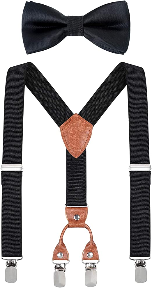 Matching Braces Suspenders And Bow Neck Tie Kids Children Boys Girls All Sizes