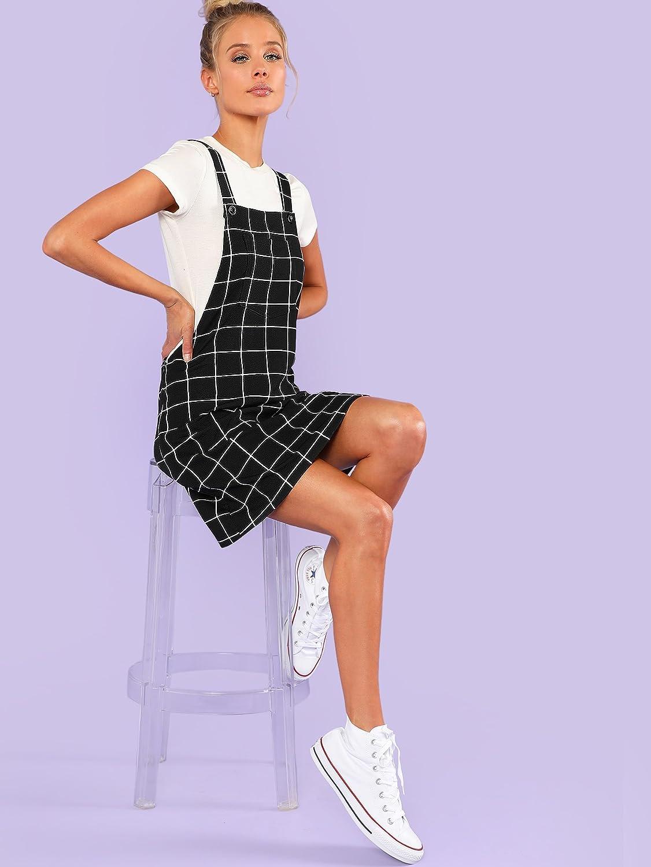 SOLYHUX Damen elegant Kariertes /ärmellos Mini kurzes Jumpsuit Shiftkleid mit Tasche vorn
