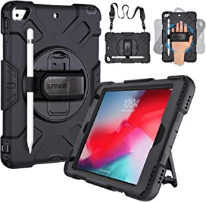 SUPFIVES iPad Mini 5 Case with Strap, iPad Mini 4 Case for Kids Military Grade Protective Rugged Case with Shoulder Strap + Kickstand + Pencil Holder for iPad Mini 5th/ 4th Generation 7.9 inch- Black