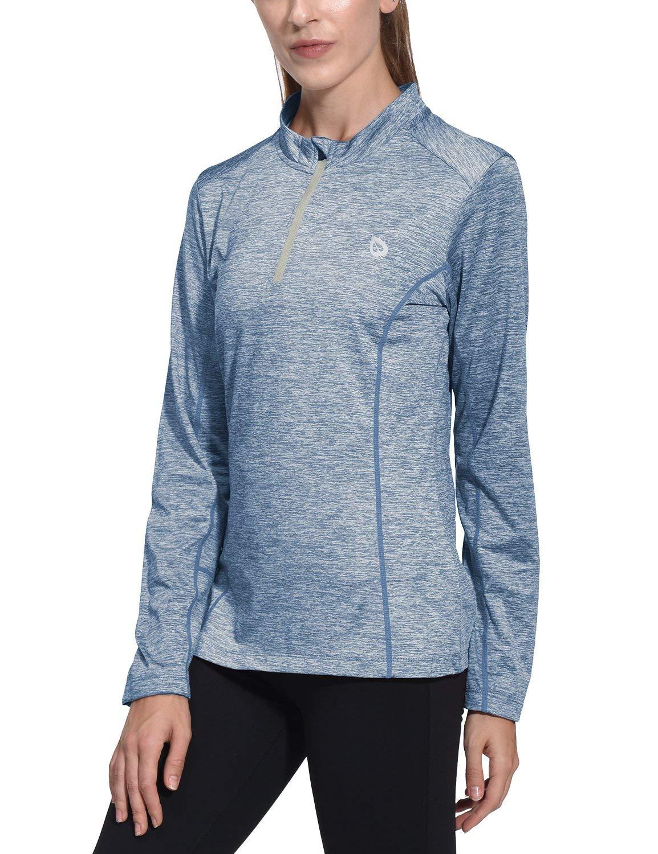 Baleaf Women's Thermal Running Shirts Long Sleeve 1/4 Zip Pullover Blue XS