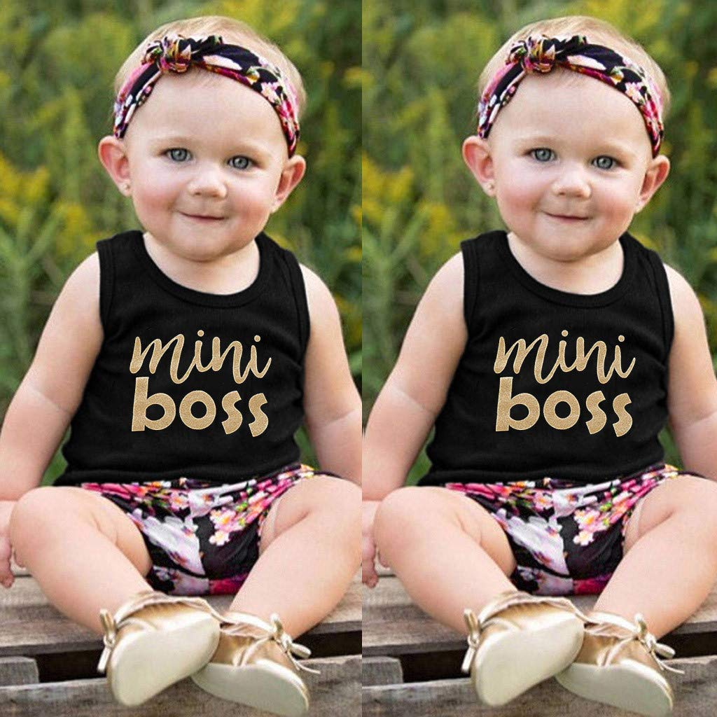 Riverdalin Infant Baby Girls Summer Outfits Letter Print Vest Tops+Floral Shorts+Headband Outfits Clothes Sets