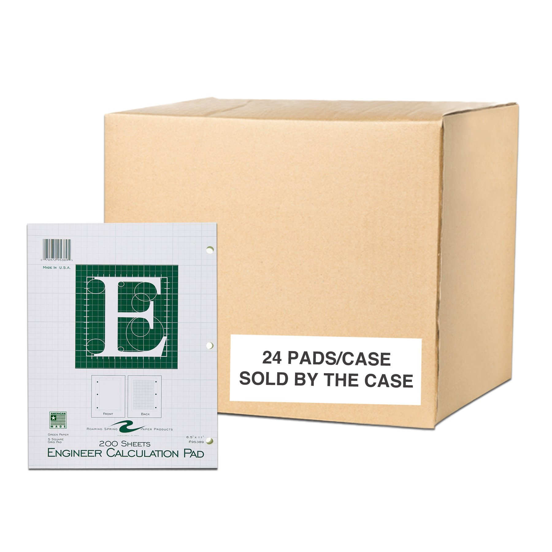 Case of 24 Engineer Pads, 8.5''x11'', 200 sheets of 16# Green tint Paper, 5x5 printed Grid, 3-Hole Punched, Extra Heavy Backing by Roaring Spring