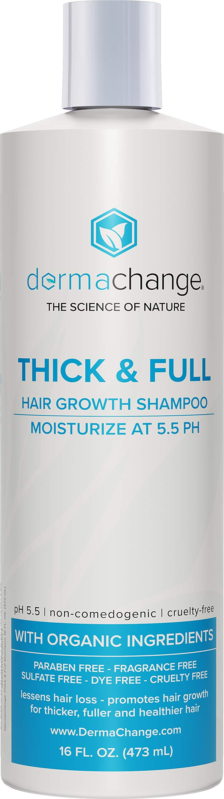 Thick and Full Hair Growth Shampoo - with Organic Vitamins for Hair Growth - For Color Treated Hair - Paraben, Gluten and Sulfate Free - Hair Loss Treatments - Supports Regrowth (16oz) - Made in USA by DermaChange
