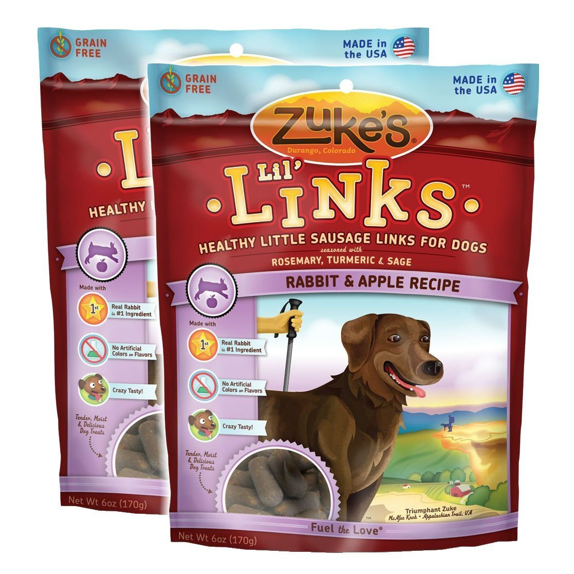 Zuke s Lil Links Healthy Little Sausage Links for Dogs, Rabbit, Pack of 2