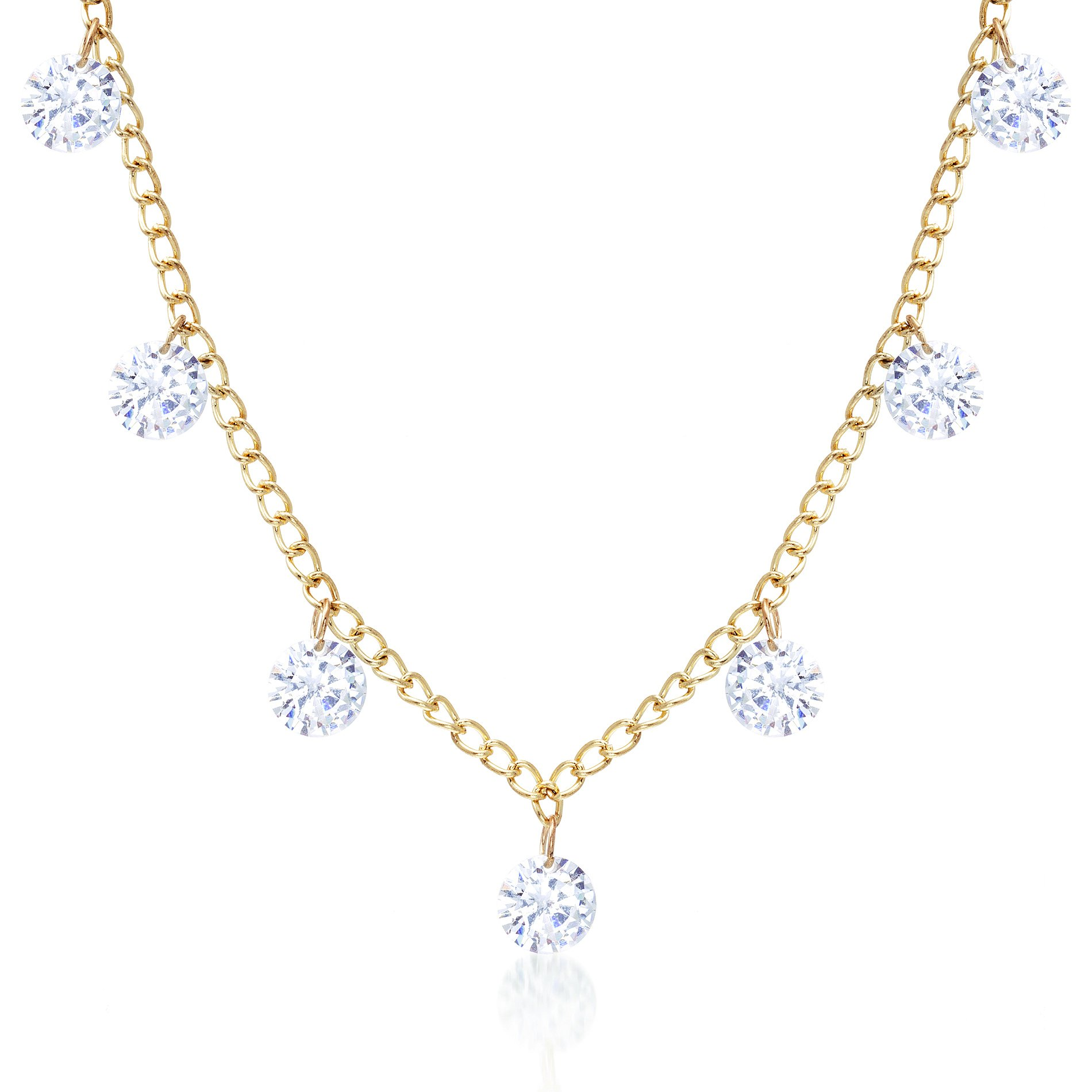 LESA MICHELE 23'' Womens Round Crystal Drop Charm Curb Chain Necklace (Yellow)