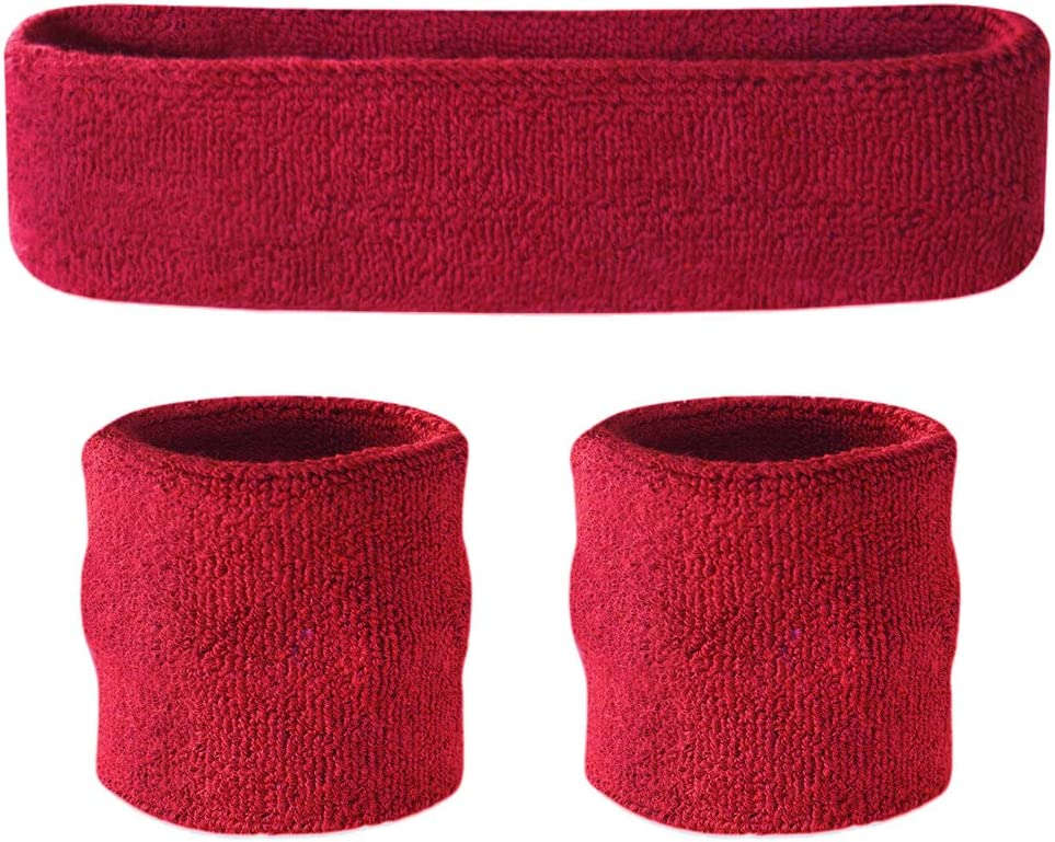 1 Head Band and 2 Wrist Sweatbands Suddora Striped Headband /& Wristbands Set