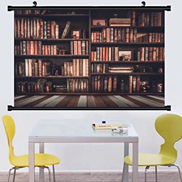 Gzhihine Wall Scroll Posterblurred Image Many Old Books On Bookshelf In Library Art Paiting
