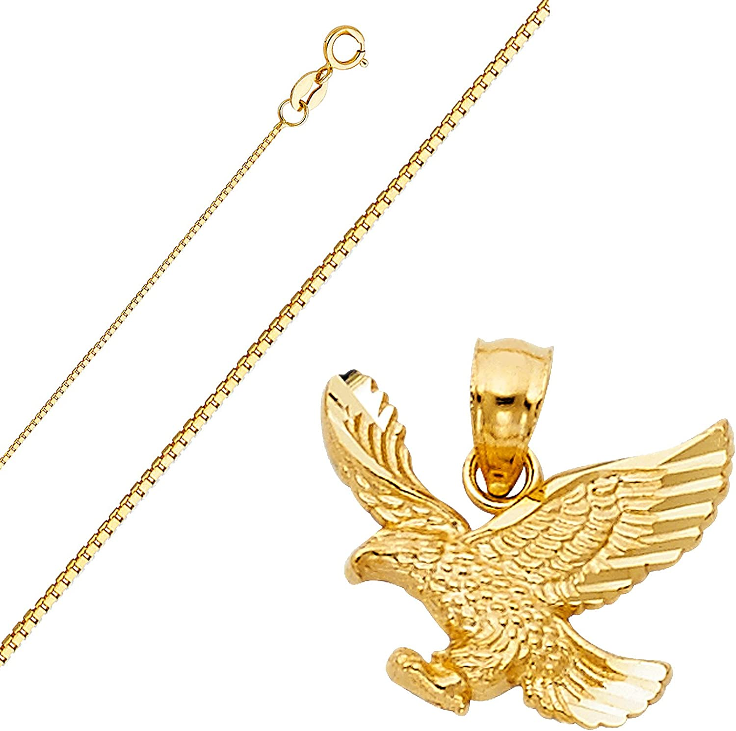 Top Gold /& Diamond Jewelry Solid 14K Gold Box Chain Eagle Pendant Necklace Set