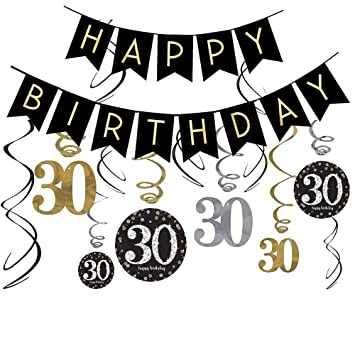 30th Birthday Decorations Kit Gold Glitter Happy Banner Sparkling Celebration 30 Hanging Swirls