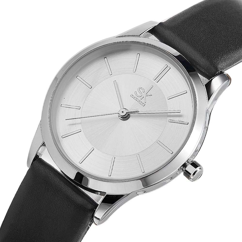 Female Watches Leather Strap Round Case Analog Fashion Women Watch Ladies Wristwatch Relogio Feminino (8037 White Black)