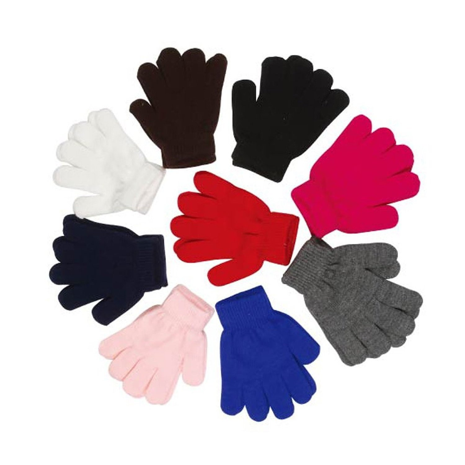 Akanbou Magic Gloves Stretch Gloves Knit 6 Pairs Wholesale- Fit Teens and Adults