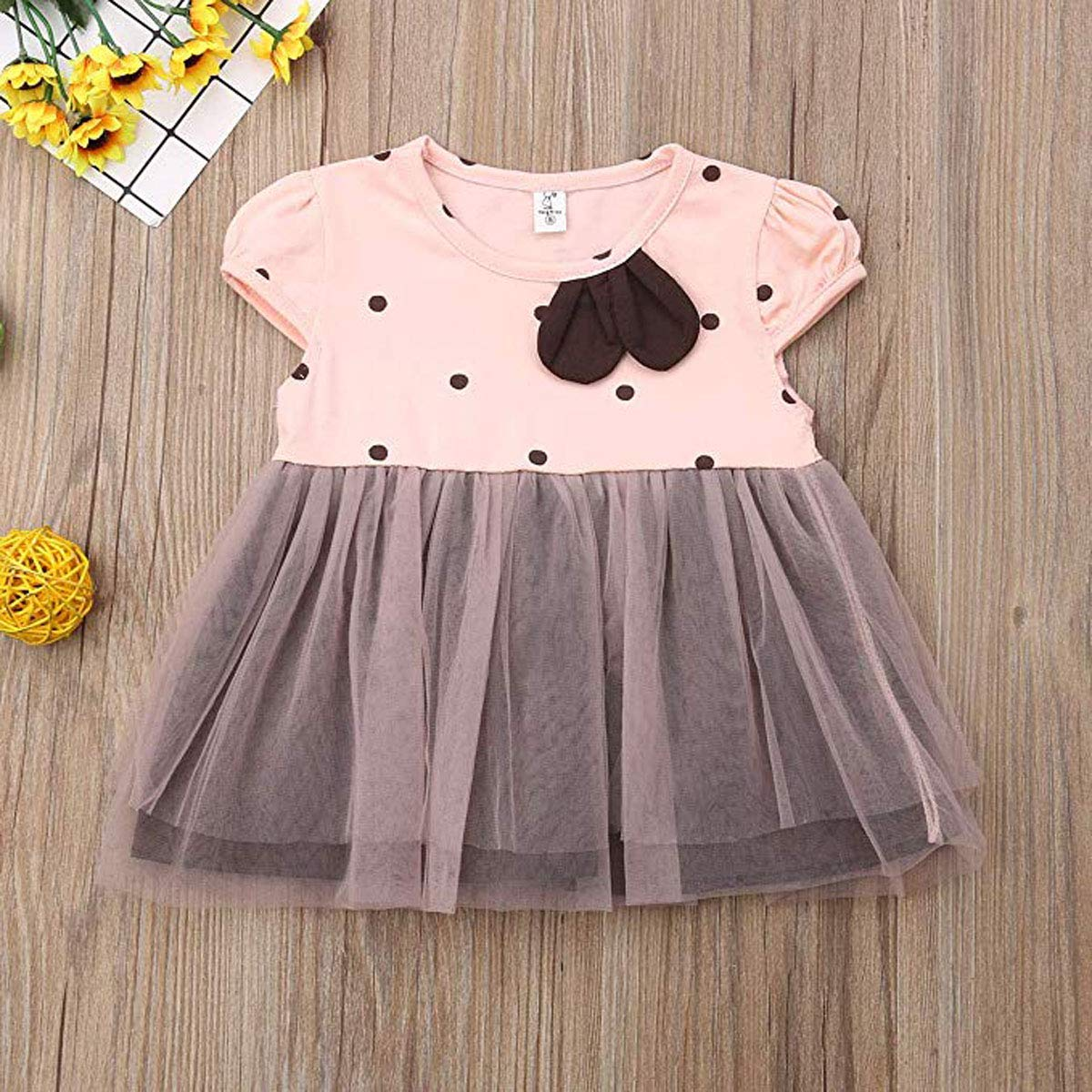 Toddler Kids Baby Girls Tulle Tutu Dress Polka Dots Print Ruffles Sleeve Princess Dress Summer Playwear