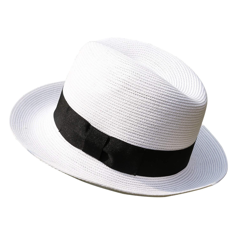 9e39a69bcc3 Janetshats Men's Trilby Havana Straw Fedora Panama Sun Hat Cuban Hats White  at Amazon Men's Clothing store: