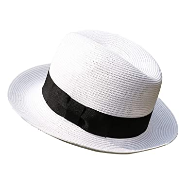 7526b4dfc43e9d Image Unavailable. Image not available for. Color: Janetshats Men's Trilby  Havana Straw Fedora Panama Sun Hat Cuban Hats White