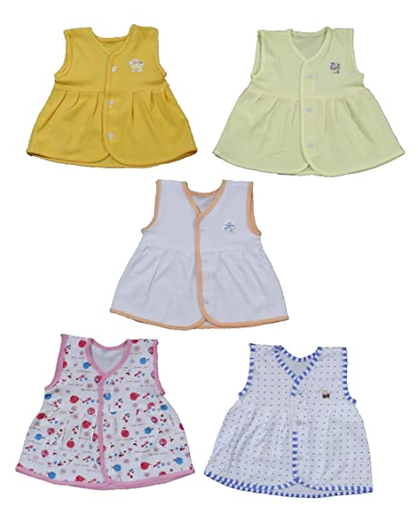 f021409b9 Mizaan Collections Baby Girls Soft Cotton Hosiery Jhabla (Multicolour, 0-6  Months)