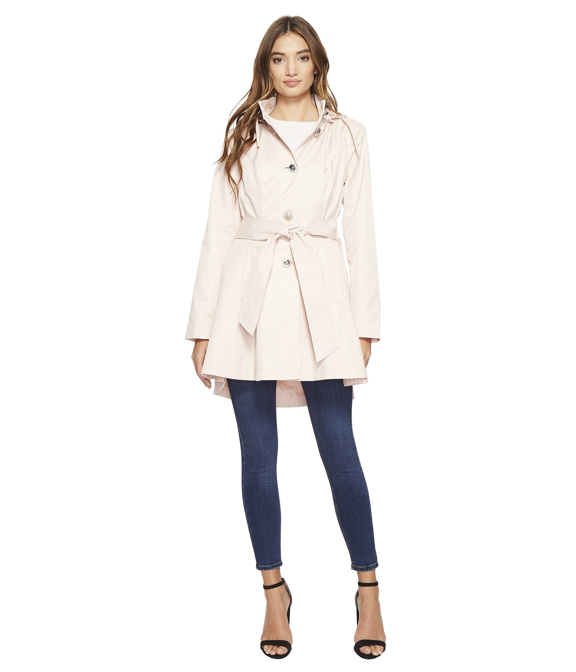 Betsey Johnson Fit And Flare Trench Coat Dusty Pink Medium