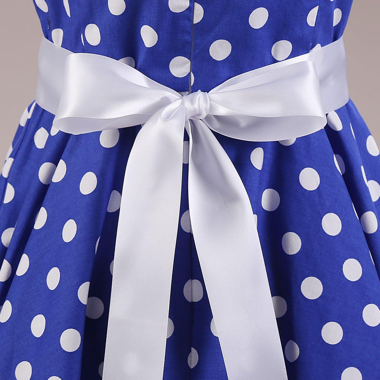 Summer Dress U Vintage 50s 60s Sleeveless Retro Style Rockabilly Swing Dress Polka Dot