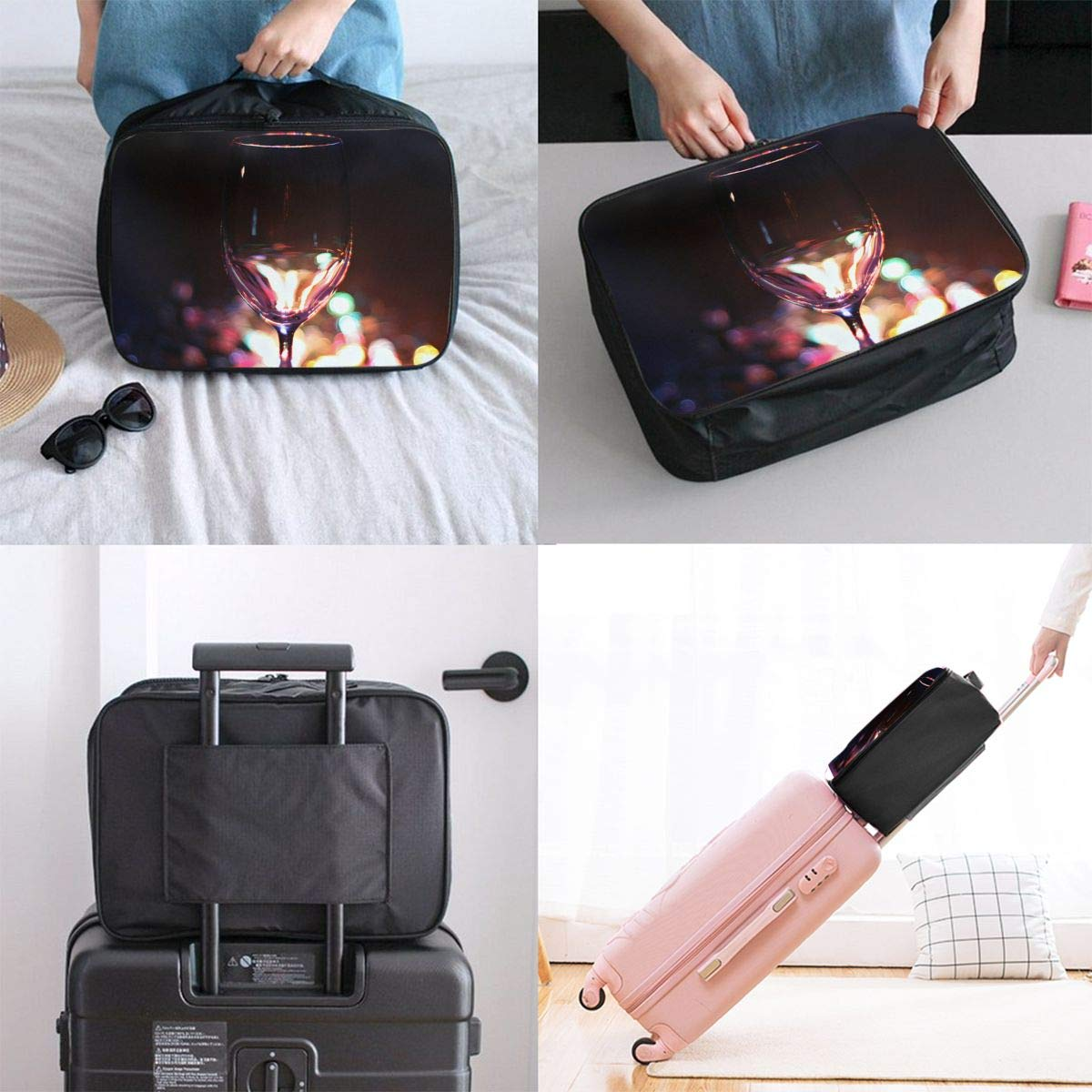 Travel Luggage Duffle Bag Lightweight Portable Handbag Colorful Cocktail Large Capacity Waterproof Foldable Storage Tote