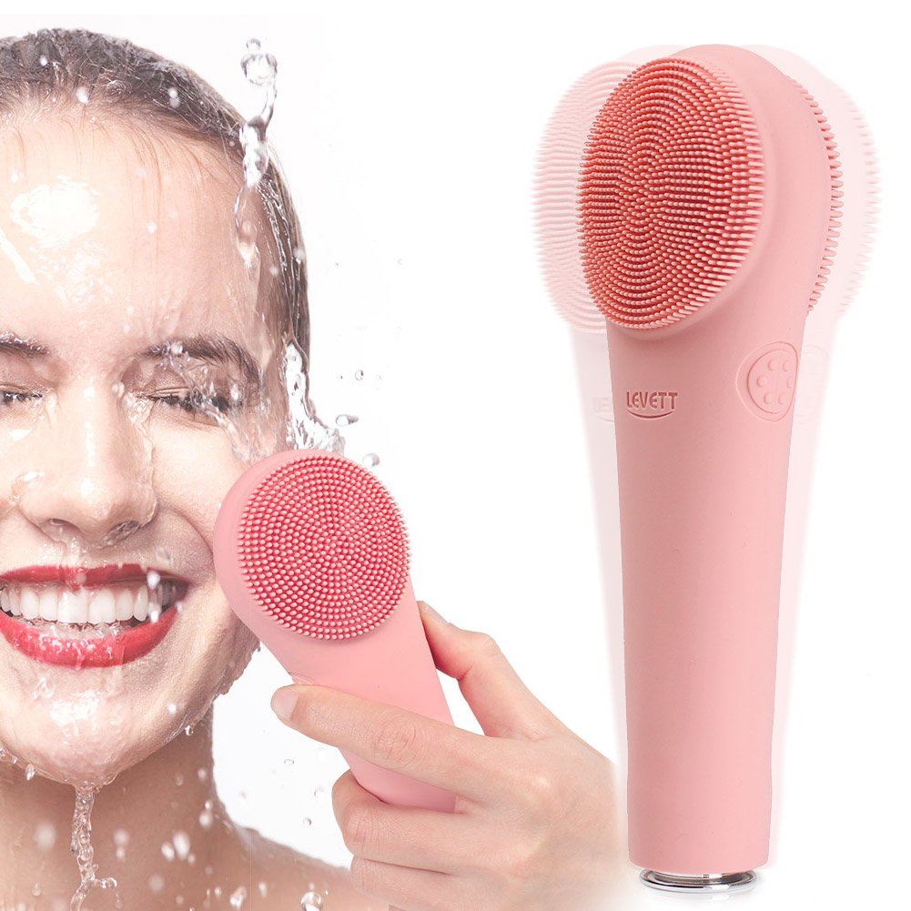 Silicone Facial Cleansing Brush, Waterproof Face Massager Electric Facial & Body Brush with 16 Sonic Patterns Deep Cleansing for All Skin Type (pink)
