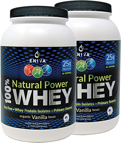ENIVA Natural Power 100 Whey Protein Powder, Organic Vanilla, Clean Protein for Everyone Keto, High Protein, Low Carb, Gluten Free Non GMO Soy Free, Whey WPI Isolate Primary, USA Made, 5.5 lbs
