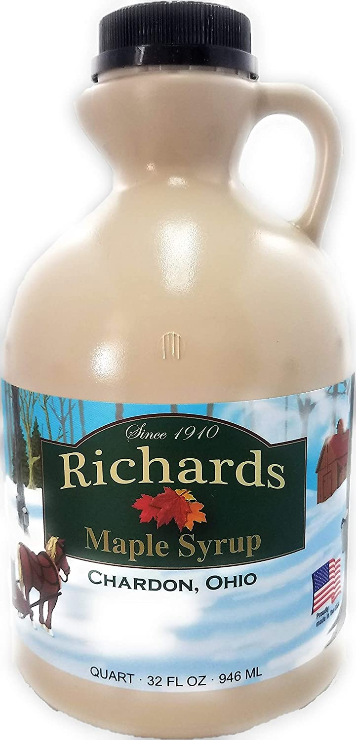 Richards Maple Products 100% Pure Geauga County, Ohio Maple Syrup, Grade A, Very Dark Color - Quart (32 Fl. Oz.)