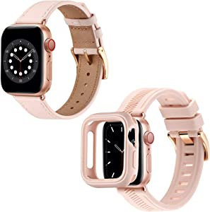 BesBand Compatible with Apple Watch Bands 44mm 42mm 40mm 38mm,Genuine Leather/Soft Silicone Waterproof,Men Women for iWatch SE & Series 6/5/4/3/2/1