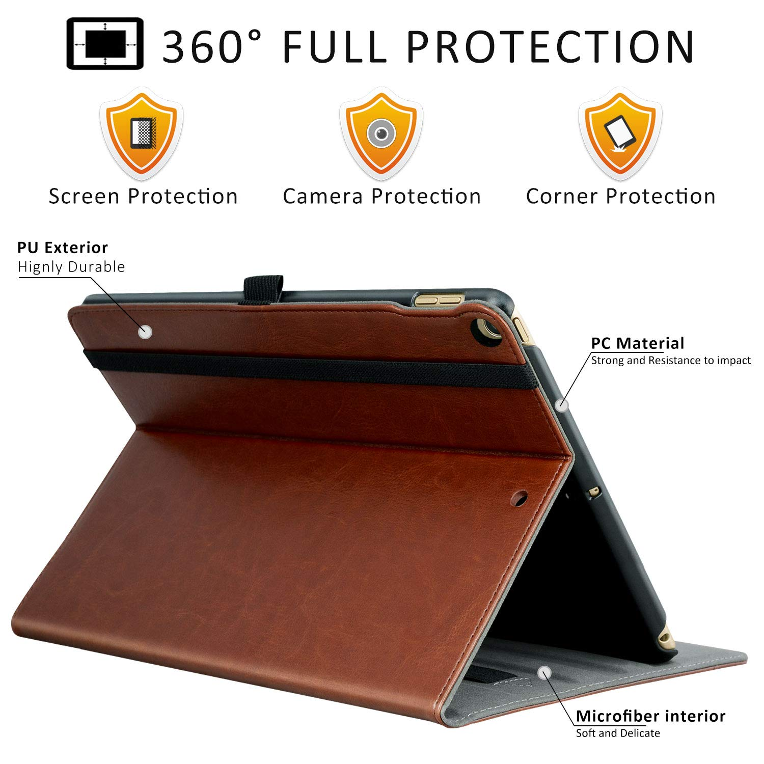 7th Generation Ztotops Case for iPad 10.2 2019 ,Premium Leather Business Stand Folio Cover,with Pencil Buckle,Multi-angle,Pocket and Auto Wake//Sleep Function for iPad 7th Generation 2019,Blue